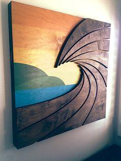 Wave Art by Shaun Thomas - wood wall hanging art sculpture Wooden Wall Art, Wooden Walls, Wood Projects, Woodworking Projects, Hanging Artwork, Wood Artwork, Wave Art, Got Wood, Pallet Art