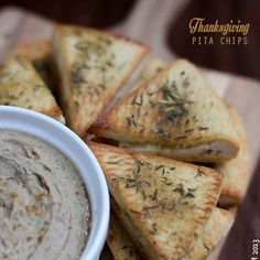 Chestnut Hummus Recipe Appetizers with roasted chestnuts, tahini paste, large garlic cloves, water, lemon, cumin, extra-virgin olive oil, kosher salt, pepper, pitas, extra-virgin olive oil, granulated garlic, dried rosemary, dried thyme, ground sage, kosher salt