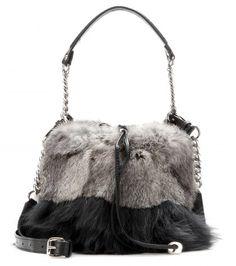 92df02d34023 Jimmy Choo - Evie fur and leather drawstring bag - mytheresa.com GmbH  Leather Drawstring