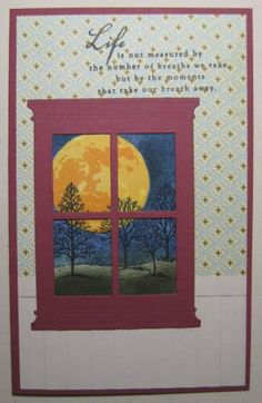 handmade window card ... luv the Madison window die cut in red ... gorgeous sponging to create Autumn moon .... Lovely as a Tree silhouettes ... Stampin' Up! plus Memory Box