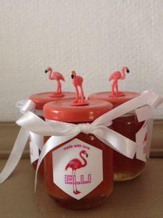 Doopsuiker flamingo, watermeloenconfituur