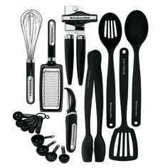 17 Piece Complete Kitchen Tool and Gadget Set w Can Opener,Measuring Cups,Tongs