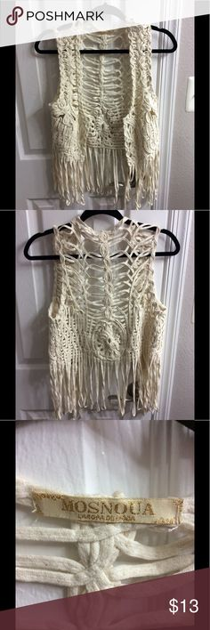Fringed boho/ hippie vest Unique and creamy color vest. Bought in South America. Tops