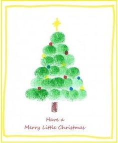 Fingerprint Art Christmas Tree Idea