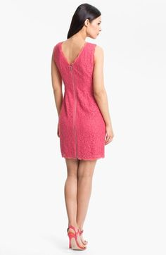 "I also tried on this dress today. A bit more ""pink"" than I was thinking, but a pretty good fit, and some spunk with the dual zipper back.  Adrianna Papell Boatneck Lace Sheath Dress (Regular & Petite) 