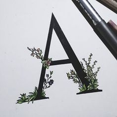Done. 'A'   #draw #drawing #pen #pencilart #art #colour #herbs #herbsdrawing #word #wordwithherbs #dropcap #graphic #typo #typography #typoart #abc #a