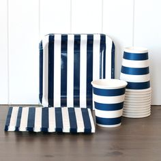 Striped Tableware Set - Navy from Tomcat Studio  sc 1 st  Pinterest : navy blue paper plates - pezcame.com