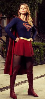 A great series of Melissa Benoist as Supergirl from Melissa Benoist Daily.Gives you a good idea of the costume and the reasonable height of her boots.