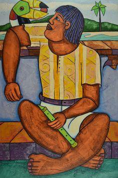 """JOUBERT PANTANERO - (1946)    Título: """" O tucano no braço D'um Cadwéu """"  Técnica: óleo sobre tela  Medidas: 120 x 80 cm  Assinatura: centro inferior e dorso  Data/Local: 2003"""