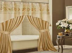 Elegant Bathroom Shower Curtain Ideas, Photos, Remodel and Design - Modern Fancy Shower Curtains, Double Swag Shower Curtain, Shower Curtain With Valance, Luxury Shower Curtain, Extra Long Shower Curtain, Window Curtains, Curtain Valances, Double Shower, Home Design