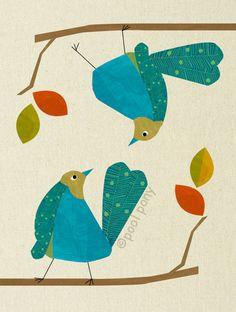 blue love birds  mid century design art print by poolponydesign, pinned by www.funkyfabrix.com.au