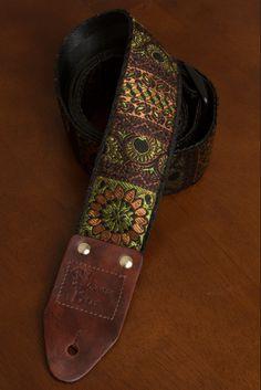 Earth Tone Flower Guitar Strap on Etsy, $55.00
