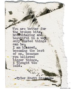 Typewriter Series #1218 by Tyler Knott Gregson*Chasers of the Light, is available through Amazon, Barnes and Noble, IndieBound , Books-A-Million , Paper Source or Anthropologie *