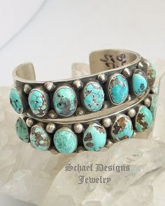 Nelvin Burbank Persian Turquoise Row Stacking Bracelet | Southwestern turquoise jewelry | online upscale native American jewelry boutique gallery| Schaef Designs Southwestern turquoise Jewelry | New Mexico