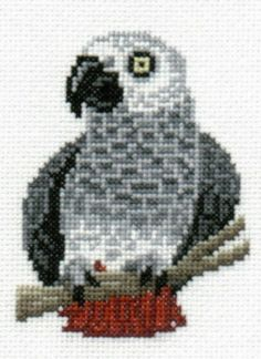 African Grey Parrot counted cross-stitch chart
