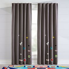 Give your windows a touch of cosmic style with our Blackout Space Curtains. With a dark grey base and various space-themed patches scattered throughout, they even include a sewn-in blackout liner, making them ideal for naptime. Blue Kitchen Curtains, Kids Room Curtains, No Sew Curtains, Double Curtains, Long Curtains, How To Make Curtains, Rod Pocket Curtains, Hanging Curtains, Blackout Curtains