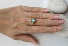 Labradorite liscio ovale anello impilabile Labradorite oro
