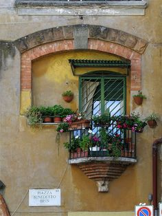 Balcony with plants and flowers, piazza Benedetto Brin, Garbatella, Rome