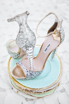 #Jeweled #MiuMiu #heels would look #beautiful on your #wedding day. #SocialblissStyle #bride #shoes