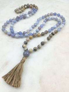 """Dipped"" Blue Chalcedony & Fossil Coral Mala"