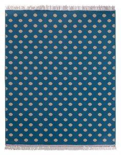 Design Velours Teppich Polka Dot mit Fransen 140x200 cm Blau Creme | 102354 HANSE HOME Fringe > 79,90 EUR