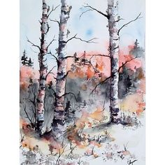 """Original Watercolor Painting- """"Early Winter"""" Maine Landscape Painting ❤ liked on Polyvore featuring home, home decor, wall art, watercolor painting, landscape wall art, landscape painting, water colour painting and watercolour painting"""