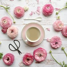 A flatlay with pink ranunculuses and a cup of coffee Pink Christmas, Christmas Tree, Coffee Shop, Coffee Cups, Pink Trees, Everything Pink, Ranunculus, Christmas Shopping, Pretty In Pink