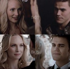 The Vampire Diaries 1x1 & 8x15: Stefan and Caroline | I don't ship #Steroline but I gotta say their wedding was beautiful