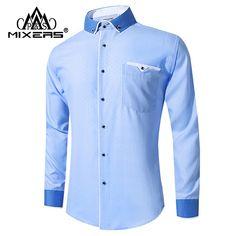New Arrival 2018 White Shirt Men Long Sleeve Business Casual Shirts Men Dress Shirts Comfortable Clothing Camisa Masculina Mens Blue Dress Shirt, White Shirt Men, Long Sleeve Shirt Dress, Shirt Sleeves, Men Dress, Dress Shirts, Men Formal, All Family, Casual Shirts For Men