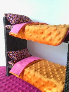 Barbie Furniture / Monster High Furniture - Orange & Pink Cheetah Bunkbeds