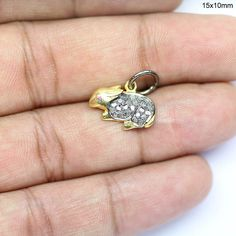 Sterling Silver Yellow Belly Body Cubic Zirconia Easter Bunny Rabbit Charm