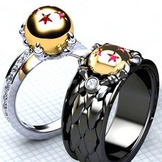 These unique Dragon Ball rings each contain diamond cut rubies in a most precious 18K gold ball. Choose between either a soft and feminine, or fierce masculine ring with the option to have any number of stars that you prefer!