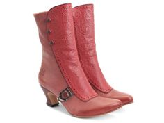 Fluevog Shoes | Shop | Babylon (Red & Pink) | Mid-calf boot with emboss