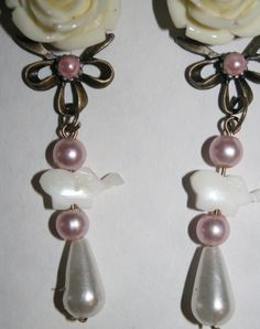 Handmade Pearl Elephant Rose Plugs Dangly by ArsenicaAccoutrement, $45.00