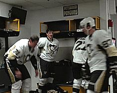Evgeni and Sidney, Jayson and Craig are in the background.