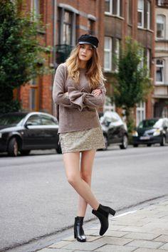 fall outfit inspo baker boy hat sweater sequin skirt boots zara 288e401eef7
