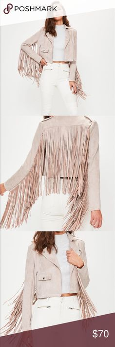 Misguided Fringe Moto Jacket! Brand new with tags, never worn pink faux suede Moto jacket with amazing fringe details! Missguided Jackets & Coats