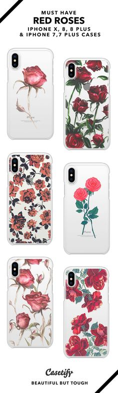 Must Have Red Roses iPhone 8, iPhone 8 plus, iPhone 7, iPhone 7 Plus case. - Shop them here ☝️☝️☝️ BEAUTIFUL BUT TOUGH ✨ - floral, vintage flower, vintager floral design, red, roses, vines