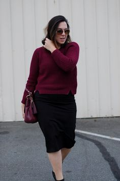 Bordeaux chunky knit cropped sweater — Le Château from head to toe  (See more: www.covetandacquire.blogspot.ca)