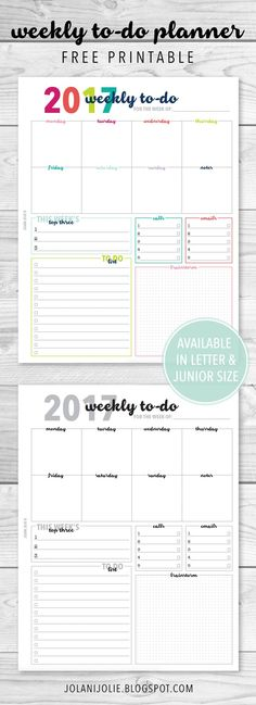Free Printable: Weekly To Do Planner Insert - Jolani Jolie