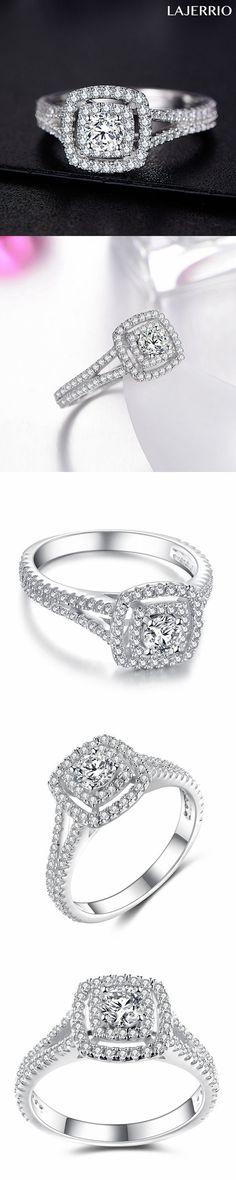 Lajerrio Jewelry Amazing Round Cut White Sapphire S925 Engagement Ring