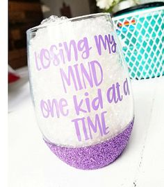 Losing My Mind One Kid At A Time Wine Glass. Cute mugs, funny mugs, cool mugs, unique mugs, wine glasses, tea glasses, gifts, mothers day gifts. #mugs #wine #shopping #gifts #commissionlink