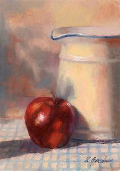 """Apple/Pitcher"" - Original Fine Art for Sale - © Linda Jacobus"