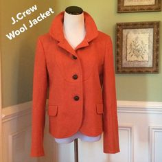 """J.Crew Wool Jacket Simply Beautiful!!!  Excellent Condition!!!  Gorgeous Auburn color. Rounded collar. Button closure. Accent pockets on front. Fully lined. Measures 23"""" from shoulder to hem, bust 19"""", waist 17"""". Priced to sell!!!  Bundle and save $$$ J. Crew Jackets & Coats Blazers"""