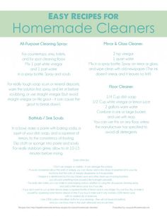 Easy Recipes for Homemade Cleaner Free Printable
