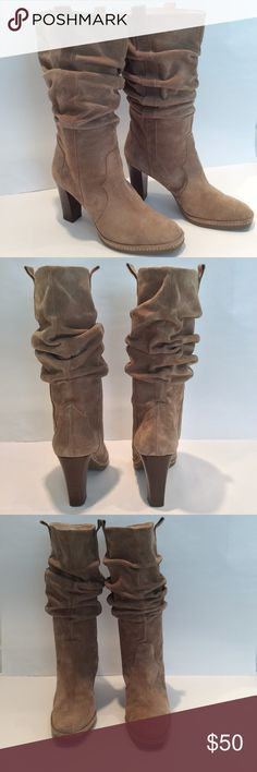 """Via Spiga tan slouchy suede boots. EUC Via Spiga tan slouchy suede boots. Never worn. 3.5"""" wood heels.  Shaft is 10.5"""" in length (mid calf).  Size 8. Boots have small markings on a few areas as soon in last pic. You do not notice this when the boots are on.  Otherwise soles and suede are like new.  No box. Via Spiga Shoes Heeled Boots"""