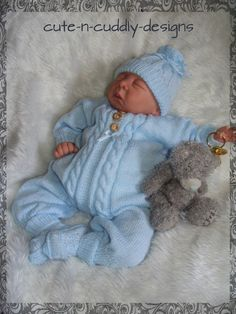 Knitting pattern for a long leg all in one suit , bootees and pull on hat ....will fit a 0-3 month baby or rborn/doll18-22 inch