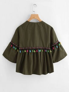 Bell Sleeve Tassel And Embroidered Tape Detail Jacket -SheIn(Sheinside) Girls Dresses Sewing, Stylish Dresses For Girls, Stylish Dress Designs, Designs For Dresses, Cute Casual Outfits, Stylish Outfits, Crop Top Outfits, Girls Fashion Clothes, Teen Fashion Outfits