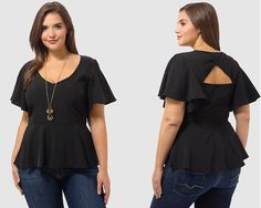 Flutter Peplum Top by @citychiconline, Available in sizes XS/S,M/L/XL and XXL