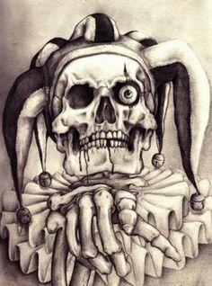 Jester tattoo Wicked Jester, Evil Jester, Evil Clown Tattoos, Skull Tattoos, Tatoos, Joker Drawings, Tattoo Drawings, Chicano Drawings, Creepy Drawings